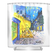 Cafe Terrace At Night - Van Gogh Shower Curtain