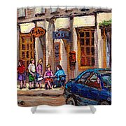 Outdoor Cafe Painting Vieux Montreal City Scenes Best Original Old Montreal Quebec Art Shower Curtain