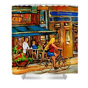 Cafes With Blue Awnings Shower Curtain