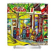 Caffe Italia And Milano Charcuterie Montreal Watercolor Streetscenes Little Italy Paintings Cspandau Shower Curtain