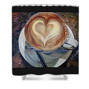 Caffe Vero's Heart Shower Curtain
