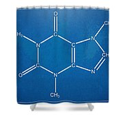 Caffeine Molecular Structure Blueprint Shower Curtain by Nikki Marie Smith