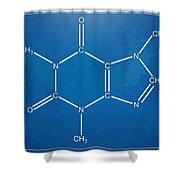 Caffeine Molecular Structure Blueprint Shower Curtain