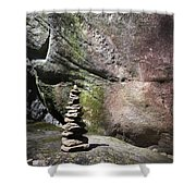 Cairn Rock Stack At Jones Gap State Park Shower Curtain by Kelly Hazel