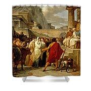 Caius Furius Cressinus Accused Of Sorcery Shower Curtain