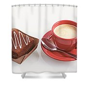 Cake And Cup Of Coffee Shower Curtain