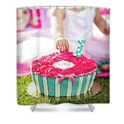 Cake Smash Pink Cake With Blue And White Stripes Shower Curtain