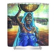 Calabash Lady In Blue Shower Curtain