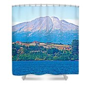 Calbuco Volcano Over Llanquihue Lake From Puerto Varas-chile Shower Curtain