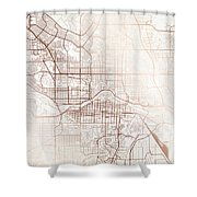 Calgary Street Map Colorful Copper Modern Minimalist Shower Curtain