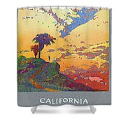 California - America's Vacation Land And New York Central Lines - Retro Travel Poster - Vintage Shower Curtain
