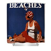 California Beaches - Girl On A Beach - Retro Poster - Vintage Advertising Poster Shower Curtain