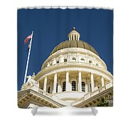 California Capitol Cupola And Flag Shower Curtain