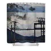 California Cascade Power Lines Shower Curtain
