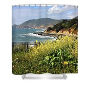 California Coast With Wildflowers And Fence Shower Curtain