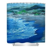California Coastline Impressionism Shower Curtain