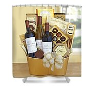 California Golden Bubbles Valentine Wine Gift  Shower Curtain