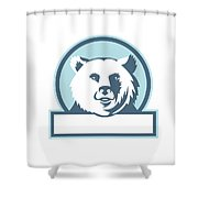 California Grizzly Bear Head Smiling Circle Retro Shower Curtain