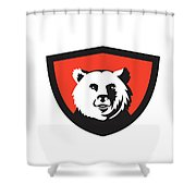 California Grizzly Bear Head Smiling Crest Retro Shower Curtain
