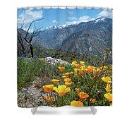 California Poppy And Mountain Panorama Shower Curtain