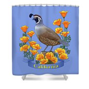 California Quail And Golden Poppies Shower Curtain by Crista Forest