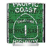 California Route 1 Pacific Coast Highway Sign Recycled Vintage License Plate Art Shower Curtain