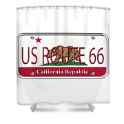 California Route 66 License Plate Shower Curtain