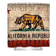 California State Flag Recycled Vintage License Plate Art Shower Curtain