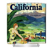 California This Summer Restored Vintage Poster Shower Curtain