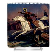Californians Catching Wild Horses With Riata. Shower Curtain