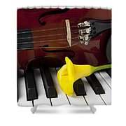 Calla Lily And Violin On Piano Shower Curtain