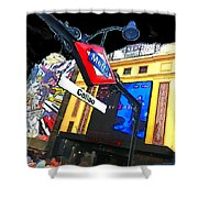 Callao Metro Entrance At Night Madrid Shower Curtain