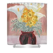 Callas, Daffys, And Dusty Miller Shower Curtain