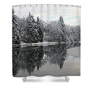Calm And Frosty Shower Curtain