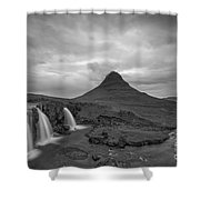 Calm Before The Storm At Kirkjufell Bw Shower Curtain
