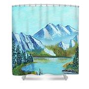 Calm Mountain Stream Shower Curtain