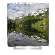 Calm Reflection On String Lake Shower Curtain