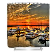 Calm Waters Bull River Marina Tybee Island Savannah Georgia Art Shower Curtain