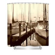 Calmly Docked Shower Curtain