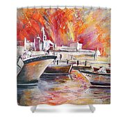 Calpe Harbour Spain Shower Curtain