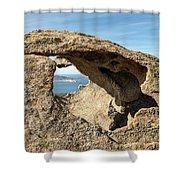 Calvi In Corsica Viewed Through A Hole In A Rock Shower Curtain