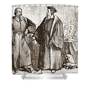Calvin And Servetus Before The Council Of Geneva Shower Curtain