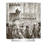 Calvin Preaching His Farewell Sermon In Expectation Of Banishment Shower Curtain