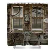Calvins Garage In Deshler Nebraska Shower Curtain