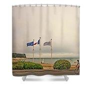 Camaret Sur Mer, Brittany, France, Bicyclist Shower Curtain