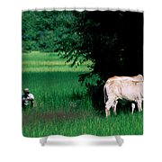 Cambodian Farmer Shower Curtain