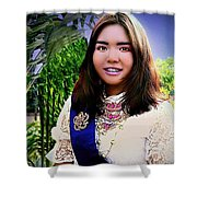 Cambodian Girl In National Dress Shower Curtain