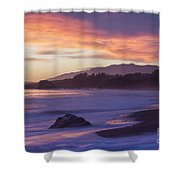 Cambria Coastline With Purple Sunset Colors Shower Curtain