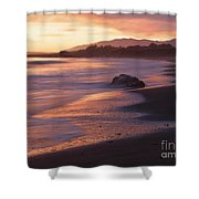 Cambria Coastline With Shimmering Sunset Color Shower Curtain