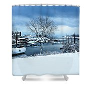Camden Harbor In The Snow Shower Curtain
